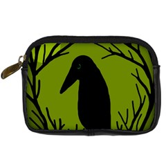 Halloween Raven   Green Digital Camera Cases by Valentinaart