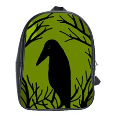 Halloween Raven   Green School Bags(large)  by Valentinaart