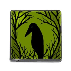 Halloween Raven   Green Memory Card Reader (square) by Valentinaart