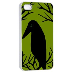 Halloween Raven   Green Apple Iphone 4/4s Seamless Case (white) by Valentinaart