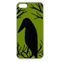 Halloween Raven   Green Apple Seamless Iphone 5 Case (clear) by Valentinaart