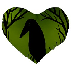 Halloween Raven   Green Large 19  Premium Heart Shape Cushions by Valentinaart