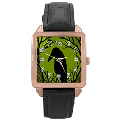 Halloween Raven   Green Rose Gold Leather Watch  by Valentinaart