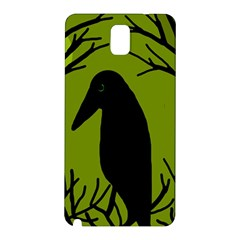 Halloween Raven   Green Samsung Galaxy Note 3 N9005 Hardshell Back Case by Valentinaart