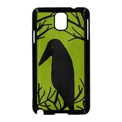 Halloween Raven   Green Samsung Galaxy Note 3 Neo Hardshell Case (black) by Valentinaart