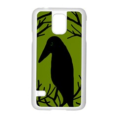 Halloween Raven   Green Samsung Galaxy S5 Case (white) by Valentinaart