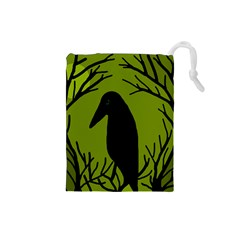 Halloween Raven   Green Drawstring Pouches (small)  by Valentinaart