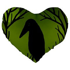 Halloween Raven   Green Large 19  Premium Flano Heart Shape Cushions by Valentinaart