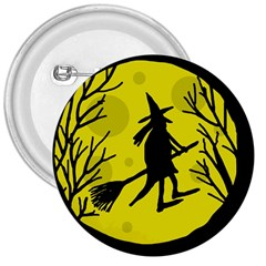 Halloween Witch   Yellow Moon 3  Buttons by Valentinaart