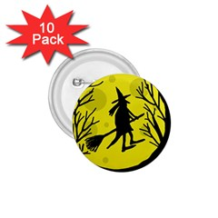 Halloween Witch   Yellow Moon 1 75  Buttons (10 Pack) by Valentinaart