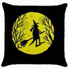 Halloween Witch   Yellow Moon Throw Pillow Case (black) by Valentinaart
