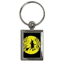 Halloween Witch   Yellow Moon Key Chains (rectangle)  by Valentinaart