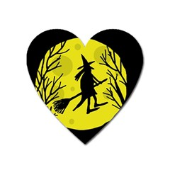 Halloween Witch   Yellow Moon Heart Magnet by Valentinaart