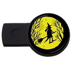 Halloween Witch   Yellow Moon Usb Flash Drive Round (2 Gb)  by Valentinaart