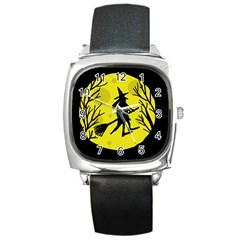 Halloween Witch   Yellow Moon Square Metal Watch by Valentinaart