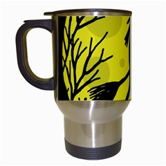Halloween Witch - Yellow Moon Travel Mugs (white) by Valentinaart