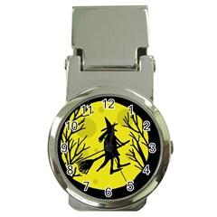 Halloween Witch   Yellow Moon Money Clip Watches by Valentinaart