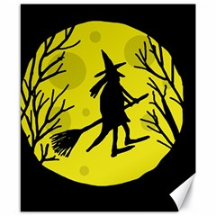 Halloween Witch   Yellow Moon Canvas 8  X 10  by Valentinaart