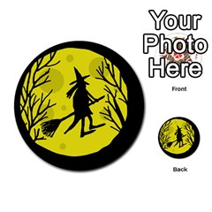 Halloween Witch   Yellow Moon Multi Purpose Cards (round)  by Valentinaart