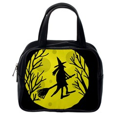 Halloween Witch   Yellow Moon Classic Handbags (one Side) by Valentinaart