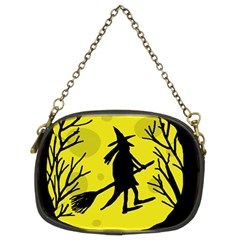 Halloween Witch   Yellow Moon Chain Purses (two Sides)  by Valentinaart