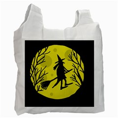 Halloween Witch   Yellow Moon Recycle Bag (one Side) by Valentinaart