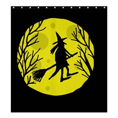 Halloween Witch   Yellow Moon Shower Curtain 66  X 72  (large)  by Valentinaart