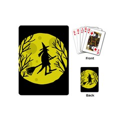 Halloween Witch   Yellow Moon Playing Cards (mini)  by Valentinaart