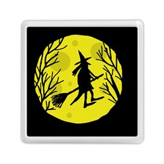 Halloween Witch   Yellow Moon Memory Card Reader (square)  by Valentinaart