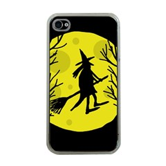 Halloween Witch   Yellow Moon Apple Iphone 4 Case (clear) by Valentinaart