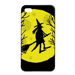 Halloween Witch   Yellow Moon Apple Iphone 4/4s Seamless Case (black) by Valentinaart