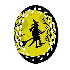 Halloween Witch   Yellow Moon Ornament (oval Filigree)  by Valentinaart