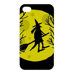 Halloween Witch   Yellow Moon Apple Iphone 4/4s Hardshell Case by Valentinaart