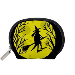Halloween Witch   Yellow Moon Accessory Pouches (small)  by Valentinaart