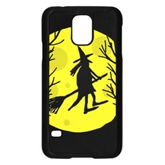 Halloween Witch   Yellow Moon Samsung Galaxy S5 Case (black) by Valentinaart