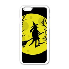 Halloween Witch   Yellow Moon Apple Iphone 6/6s White Enamel Case by Valentinaart