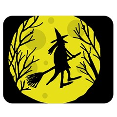 Halloween Witch   Yellow Moon Double Sided Flano Blanket (medium)  by Valentinaart