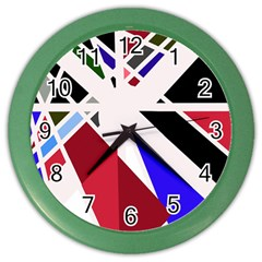 Decorative Flag Design Color Wall Clocks by Valentinaart
