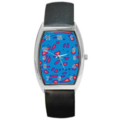 Blue And Red Neon Barrel Style Metal Watch by Valentinaart