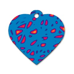 Blue And Red Neon Dog Tag Heart (one Side) by Valentinaart