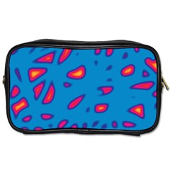 Blue And Red Neon Toiletries Bags by Valentinaart