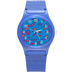 Blue And Red Neon Round Plastic Sport Watch (s) by Valentinaart