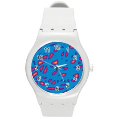 Blue And Red Neon Round Plastic Sport Watch (m) by Valentinaart