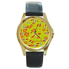 Yellow Neon Design Round Gold Metal Watch by Valentinaart