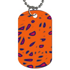 Orange Neon Dog Tag (two Sides) by Valentinaart