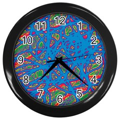 Colorful Neon Chaos Wall Clocks (black) by Valentinaart