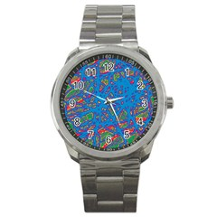 Colorful Neon Chaos Sport Metal Watch by Valentinaart