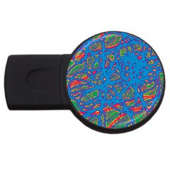 Colorful Neon Chaos Usb Flash Drive Round (4 Gb)  by Valentinaart