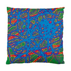 Colorful Neon Chaos Standard Cushion Case (one Side) by Valentinaart