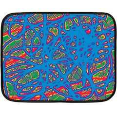Colorful Neon Chaos Fleece Blanket (mini) by Valentinaart